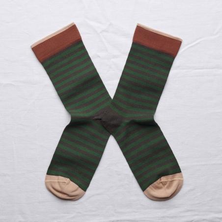 chaussettes - bonne maison -  Rayure - Terre d'ombre - femme - homme - mixte