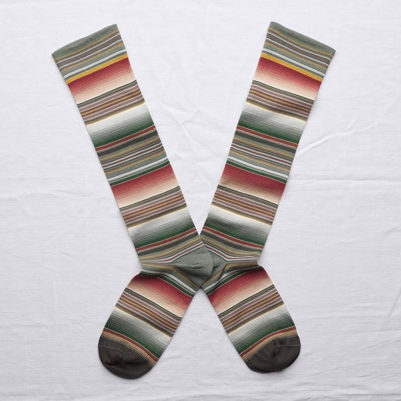 socks - bonne maison -  Fine Stripe - Cedar - women - men - mixed
