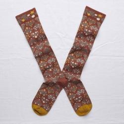 chaussettes - bonne maison -  Semis fleurs - Sépia - femme - homme - mixte