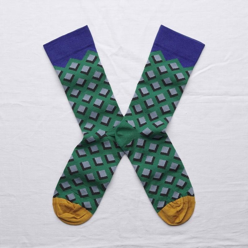 chaussettes - bonne maison -  Losange - Emeraude - femme - homme - mixte