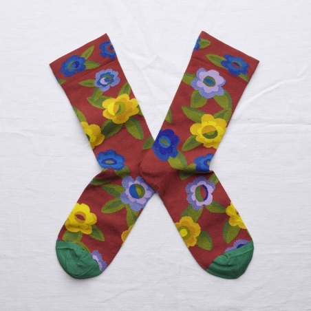 socks - bonne maison -  Flower - Crimson - women - men - mixed