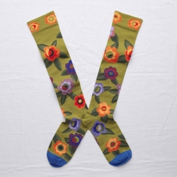 chaussettes - bonne maison -  Fleur - Bronze - femme - homme - mixte