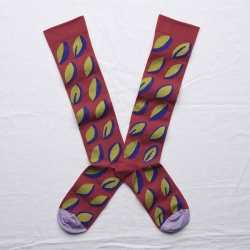 socks - bonne maison -  Feather - Crimson - women - men - mixed
