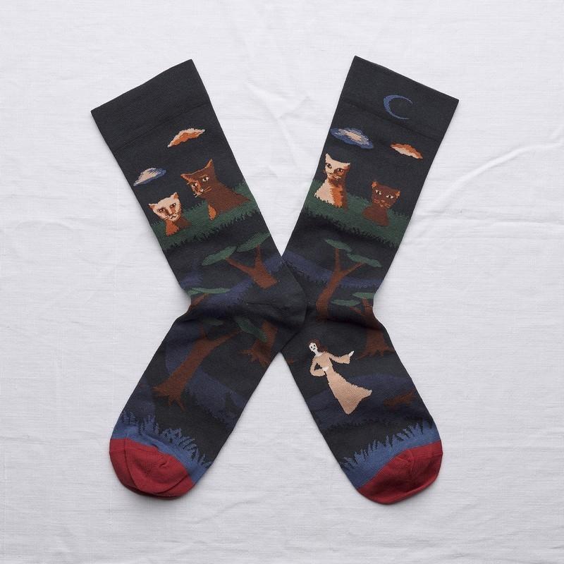 chaussettes - bonne maison -  Chat - Nuit - femme - homme - mixte