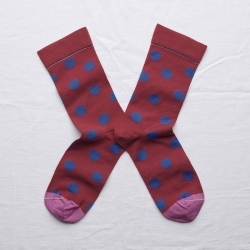 socks - bonne maison -  Polka Dot - Crimson - women - men - mixed