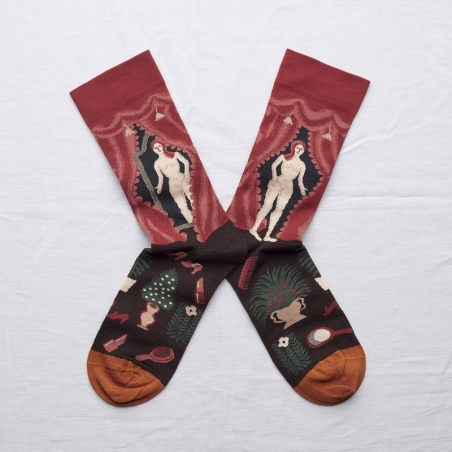 socks - bonne maison -  Nude - Crimson - women - men - mixed