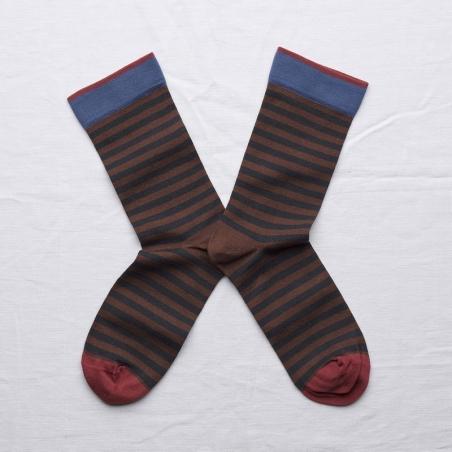 chaussettes - bonne maison -  Rayure - Chataigne - femme - homme - mixte
