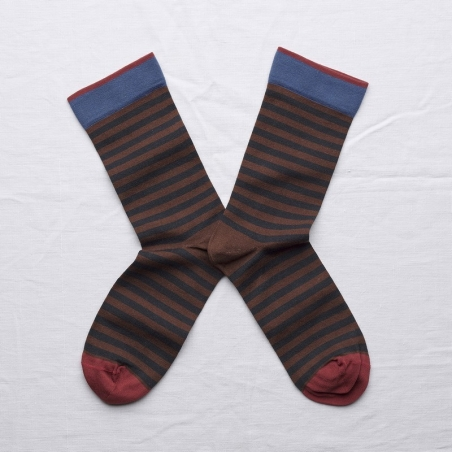 socks - bonne maison -  Stripe - Chestnut - women - men - mixed