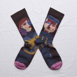 chaussettes - bonne maison -  Tête - Marron foncé - femme - homme - mixte