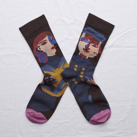 socks - bonne maison -  Head - Dark Brown - women - men - mixed