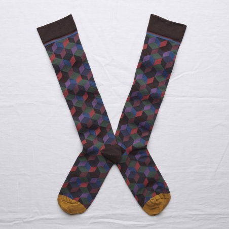 socks - bonne maison -  Argyle - Dark Brown - women - men - mixed