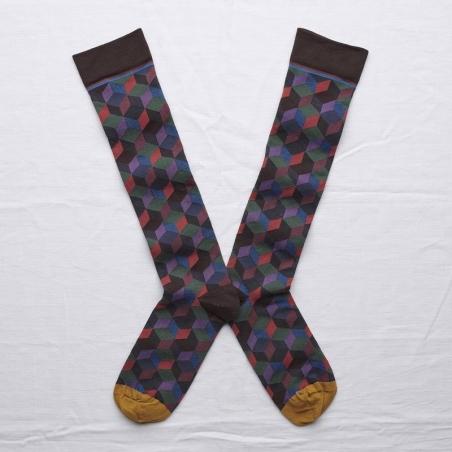 chaussettes - bonne maison -  Losange - Marron foncé - femme - homme - mixte