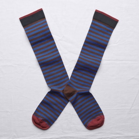 socks - bonne maison -  Stripe - Chestnut - women - men - mixed
