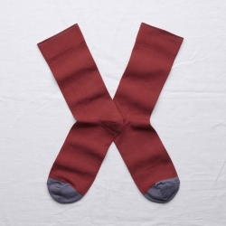 socks - bonne maison -  Plain - Crimson - women - men - mixed