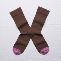 chaussettes - bonne maison -  Uni - Chataigne - femme - homme - mixte