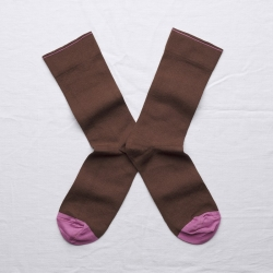 socks - bonne maison -  Plain - Chestnut - women - men - mixed