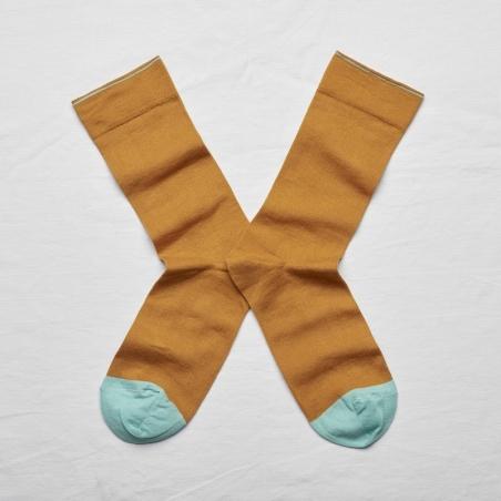 chaussettes - bonne maison -  uni - miel - femme - homme - mixte