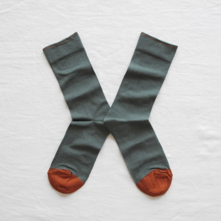 socks - bonne maison -  Plain - Cedar - women - men - mixed