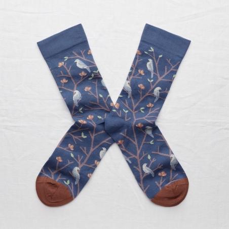 chaussettes - bonne maison -  Oiseaux - Denim - femme - homme - mixte