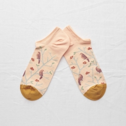 socks - bonne maison -  Birds - Rosebud Pink - women - men - mixed