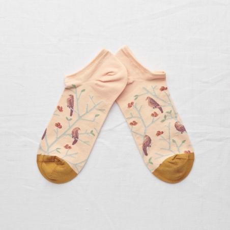 chaussettes - bonne maison -  Oiseaux - Rose bouton - femme - homme - mixte