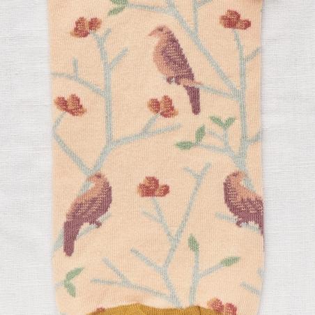 socks - bonne maison -  Birds - Rosebud Pink - women - men - mixed
