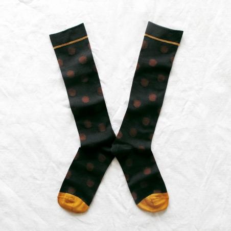 chaussettes - bonne maison -  pois chataigne - marron - femme - homme - mixte