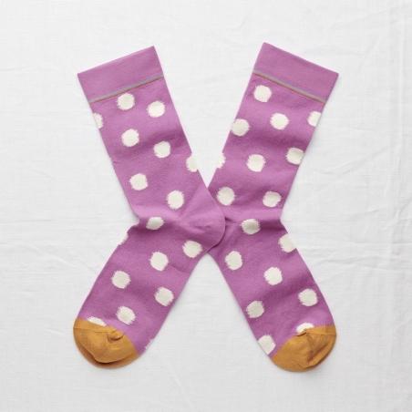 socks - bonne maison -  Polka Dot - Orchid - women - men - mixed