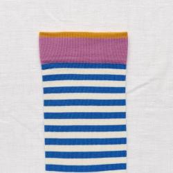 chaussettes - bonne maison -  Rayure - Cobalt - femme - homme - mixte