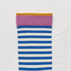 socks - bonne maison -  Stripe - Cobalt - women - men - mixed