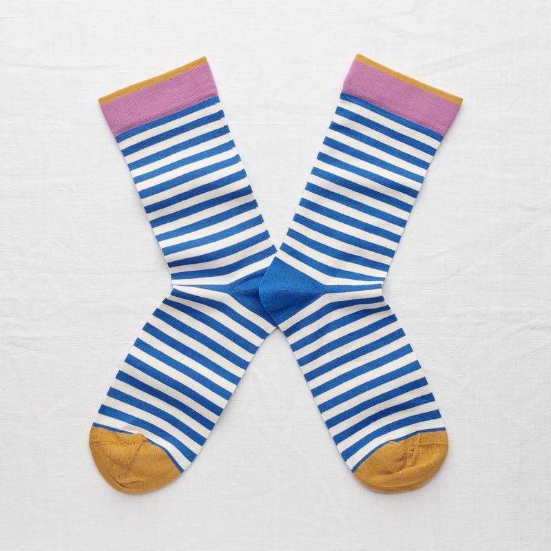 socks - bonne maison -  Stripe - Cobalt - women - men - mixed