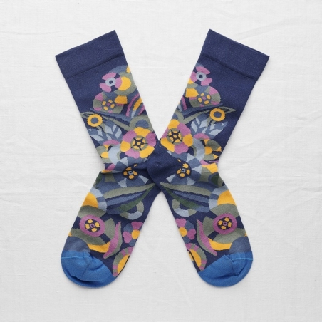 socks - bonne maison -  Flower - Blue - women - men - mixed