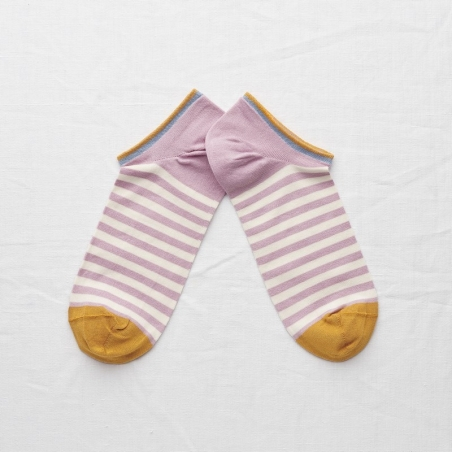 socks - bonne maison -  Stripe - Rosewood - women - men - mixed