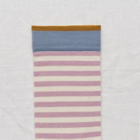chaussettes - bonne maison -  Rayure - Bois de rose - femme - homme - mixte