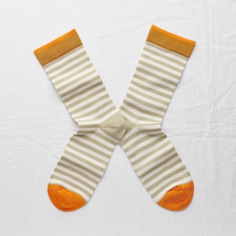 chaussettes - bonne maison -  Rayure - Sauge - femme - homme - mixte