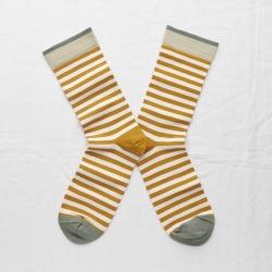chaussettes - bonne maison -  Rayure - Miel - femme - homme - mixte