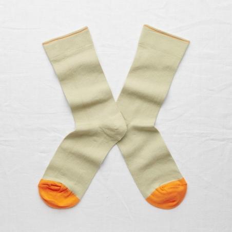 chaussettes - bonne maison -  Uni - Sauge - femme - homme - mixte