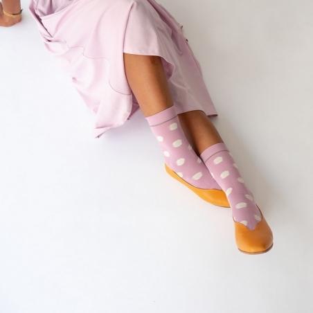 chaussettes - bonne maison -  Pois - Bois de Rose - femme - homme - mixte