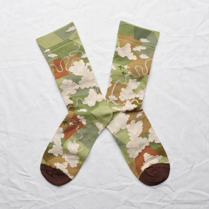 socks - bonne maison -  Cloud - Moss - women - men - mixed