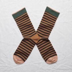 socks - bonne maison -  Stripe - Caramel - women - men - mixed