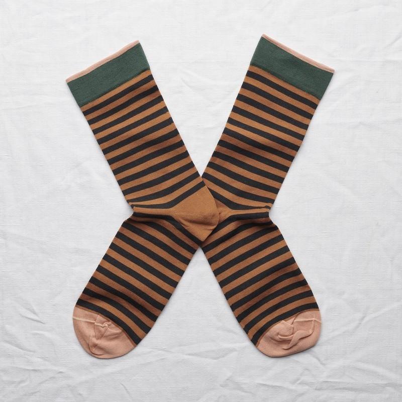 chaussettes - bonne maison -  Rayure - Caramel - femme - homme - mixte