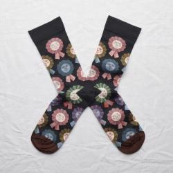 chaussettes - bonne maison -  Rosette - Faux noir - femme - homme - mixte