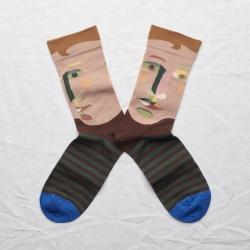 chaussettes - bonne maison -  Visage - Châtaigne - femme - homme - mixte