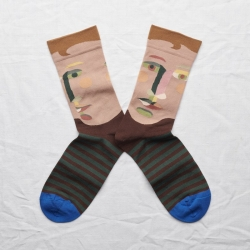 socks - bonne maison -  Face - Chestnut - women - men - mixed