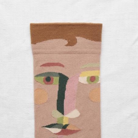 socks - bonne maison -  Face - Chestnut - women - men - mixed