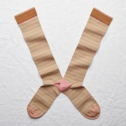 socks - bonne maison -  Stripe - Peach Pink - women - men - mixed