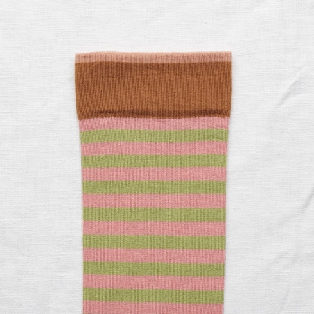 socks - bonne maison -  Stripe - Peach Pink - women - men - mixed