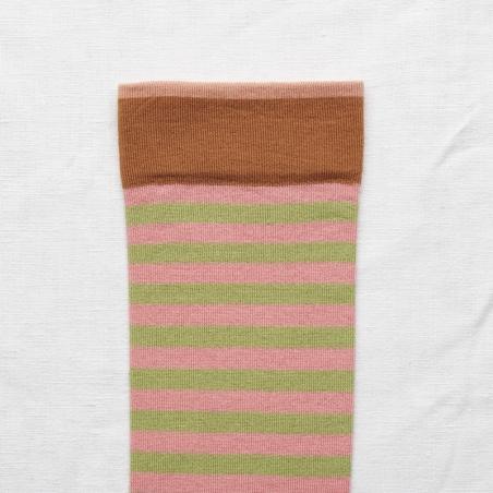 chaussettes - bonne maison -  Rayure - Rose pêche - femme - homme - mixte