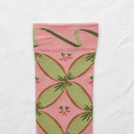 socks - bonne maison -  Ribbon - Peach Pink - women - men - mixed