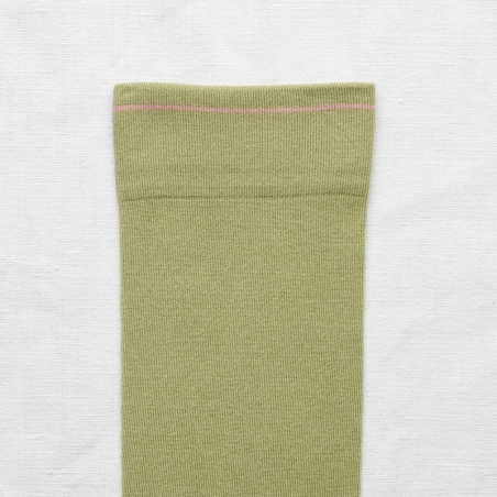 socks - bonne maison -  Plain - Moss - women - men - mixed